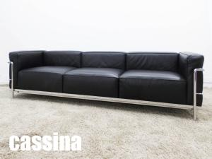 【展示品】cassina/カッシーナ コルビジェ LC3 3人掛け 本革 刻印あり ポリエステルパッディング