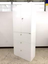 【大量12セット入荷】オフィス一番人気!真っ白オールホワイト(上:両開き&下3段引出書庫)◆オカムラ製