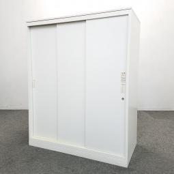 【1台入荷】人気の3枚引き戸書庫D500の書庫が入荷!レクトライン 中古 オフィス 家具 ホワイト 移転 レイアウト変更
