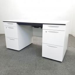 【広々使える!たっぷり収納!】■コクヨ製 アイエスシリーズ 両袖デスク W1400mm ■人気のホワイトデスク入荷!