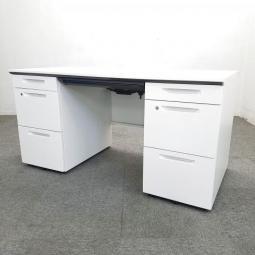 【シンプルで使いやすい!】コクヨ iS  ホワイト 両袖机 W1400 収納 オフィス