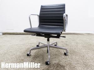 美品 HermanMiller/ハーマンミラー イームズ アルミナムグループ マネージメントチェア ローバック ブラック ガス圧昇降 本革