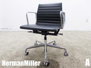 美品 A)HermanMiller/ハーマンミラー イームズ アルミナムグループ マネージメントチェア ローバック ブラック ガス圧昇降 本革
