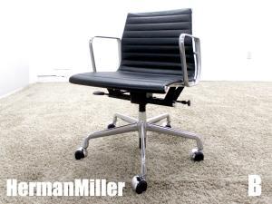 美品 B)HermanMiller/ハーマンミラー イームズ アルミナムグループ マネージメントチェア ローバック ブラック ガス圧昇降 本革