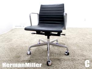 美品 C)HermanMiller/ハーマンミラー イームズ アルミナムグループ マネージメントチェア ローバック ブラック ガス圧昇降 本革