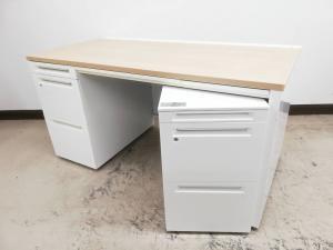 【4セット入荷】天板木目カラー&ホワイト左袖デスク+3段ワゴンセット◆オカムラ製