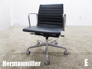 美品  E)HermanMiller/ハーマンミラー イームズ アルミナムグループ マネージメントチェア ローバック ブラック ガス圧昇降 本革