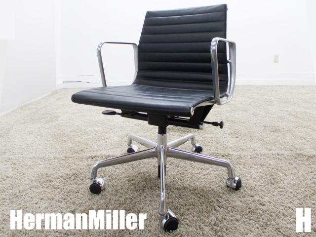 美品  H)HermanMiller/ハーマンミラー イームズ アルミナムグループ マネージメントチェア ローバック ブラック ガス圧昇降 本革                         イームズアルミナムグループチェア                                     中古