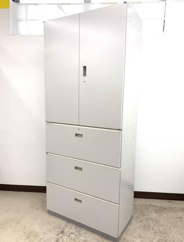 【大量8セット】オフィス用キャビネット超定番セット(上:両開き 下:3段)大量入荷※薄いグレーカラー◆イトーキ製