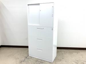 【4セット入荷】ちょうどよい高さ1800㎜真っ白ホワイト上引き違い&下3段タイプEdia(エディア)シリーズ◆コクヨ製