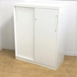 2枚引き戸 鍵付き 天板付き ホワイトキャビネット コクヨ エディア