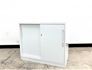 【希少!窓下サイズ】コクヨ製 エディア 引き違い扉書庫 定番のホワイト色