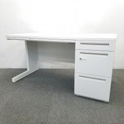 【9台入荷】人気のホワイトデスクでどんなオフィスにもおススメ!!中古 デスク 机 片袖 テレワーク 在宅ワーク ホワイト オフィス W1400 ダイヤル錠