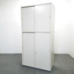 【1台限定入荷】通路などでもご使用可能!人気の高い背の低い書庫入荷!中古 キャビネット 書庫 棚 オフィス H1800 引き+引き BWN ニューグレー