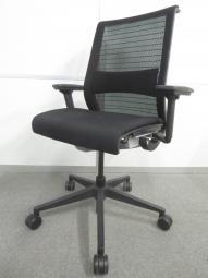 【長時間座る人のための椅子!】■スチールケース製 シンクチェア ブラック ■可動肘 ランバーサポート付 3Dニット【関東倉庫在庫】