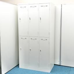 【2台入荷】【鍵付き】まっさら新品ホワイトロッカー⇒みんな仲良く6人用◆生興製