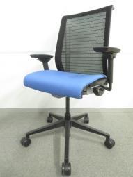 【長時間座る人のための椅子!】■シンクチェア 3Dニット 座ブルー  ■可動肘