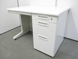 【使いやすいオフィスデスク!】■プラス製 片袖デスク W1000mm ホワイト【倉庫在庫】KRC