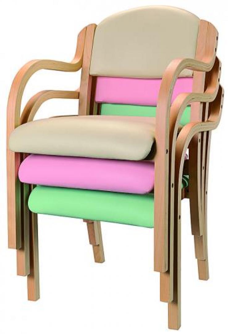 【事務用品】木製スタックチェア お手入れらくらく ベージュ|IKD