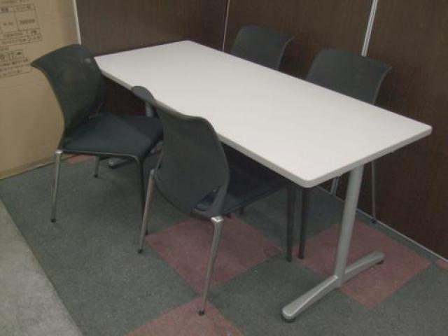 内田洋行製 ミーティングテーブル + ヴィトラ製 メダスリムチェア【デザイナーズ】 4脚セット                                     中古