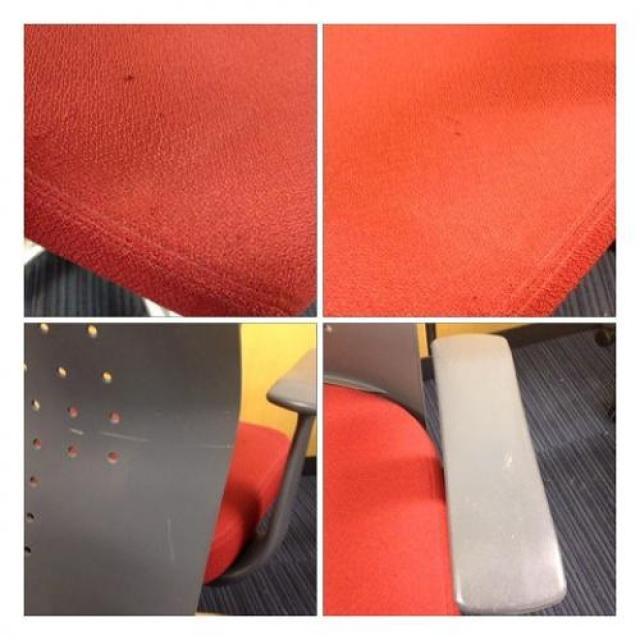 12/20入荷【エクサージュ】レッドのコクヨ製チェア■座面がふんわりしています。【OAチェア】                                     中古