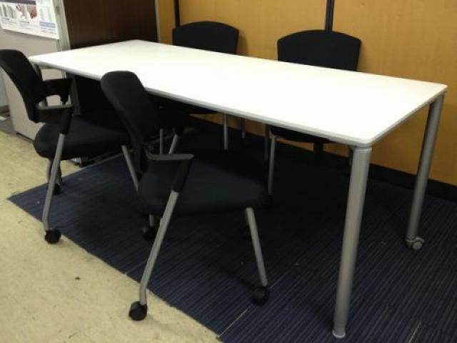 【セット商品】ミーティングテーブルとミーティングチェアのセットです。詳細に説明がございます!【会議チェア】                                     中古