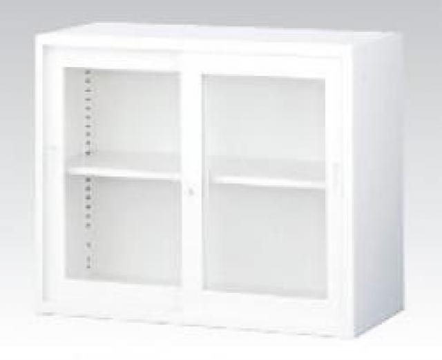 【収納家具】上置用ガラス引き違い A4ファイル対応 ホワイト【事務用品】