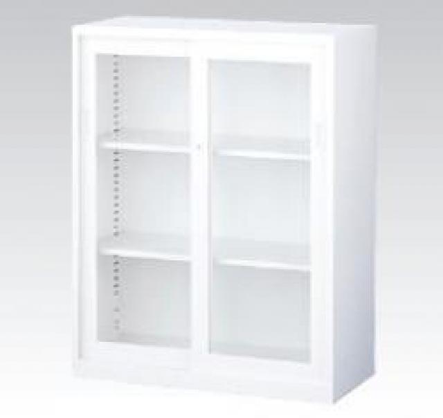 【収納家具】上置用ガラス引き違い A4ファイル対応 ホワイト 【事務用品】